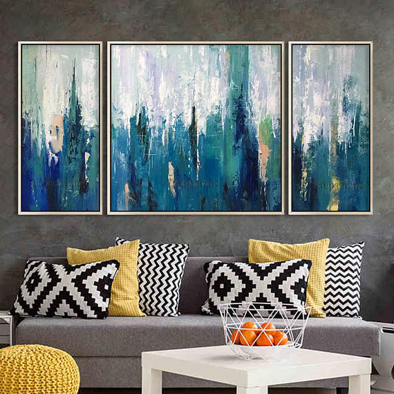 Set Of 3 Wall Art Framed Painting Acrylic Abstract Painting On Etsy Abstract Painting Acrylic Diy Canvas Art Abstract Cloud Painting