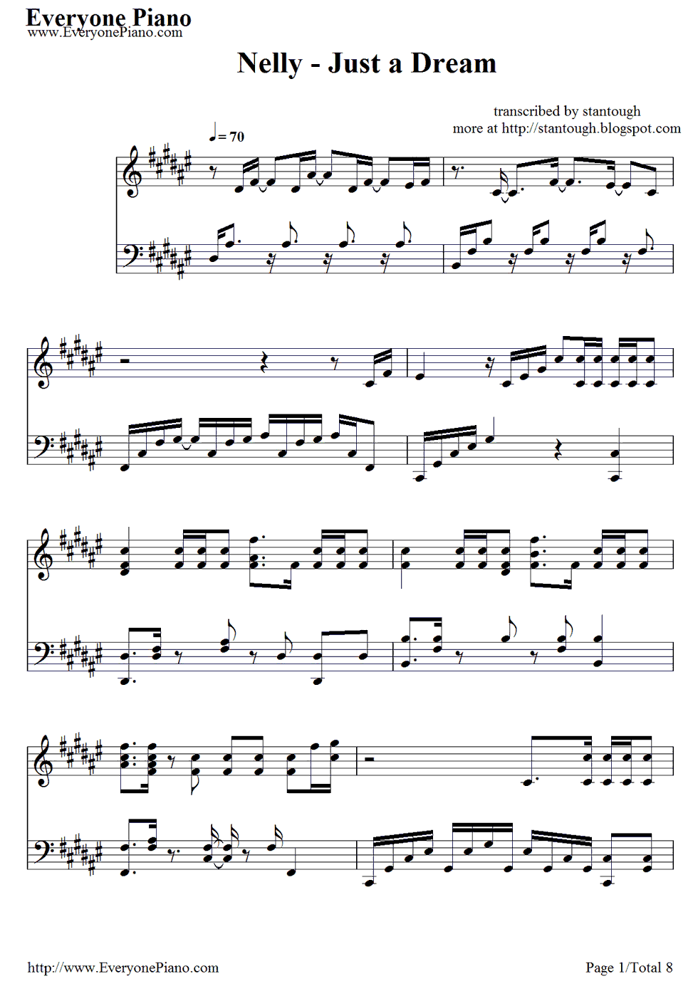 Free Just A Dream Nelly Sheet Music Preview 1 Just A Dream Nelly