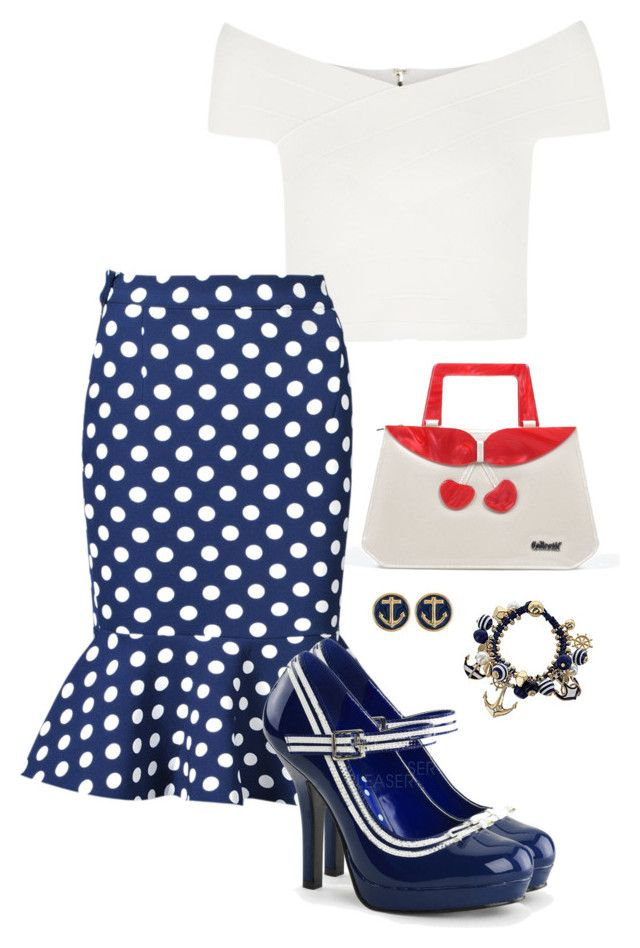 """Miss Navy"" by karito-pinup ❤ liked on Polyvore featuring Collectif"