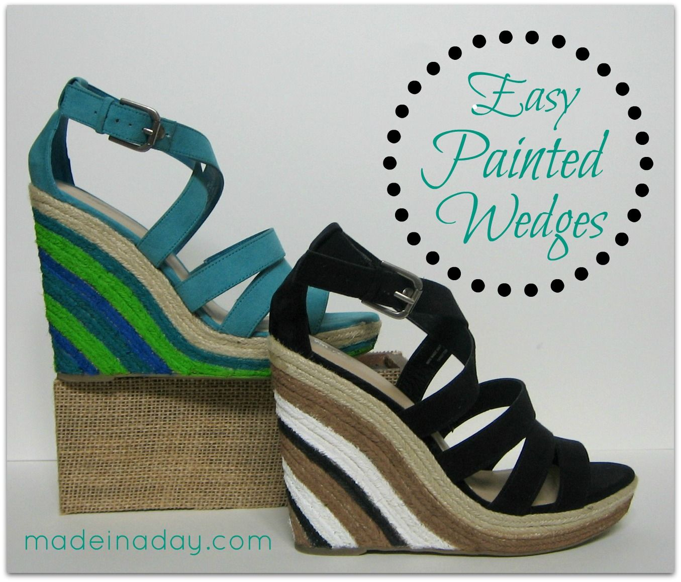 diy painted wedge sandals! | wedges, craft and shoe refashion
