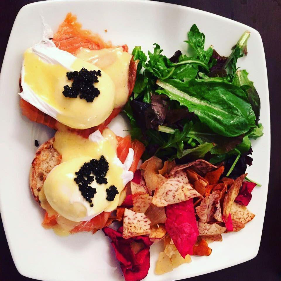 Egg Benedict with Petrossian caviar! Eggs benedict