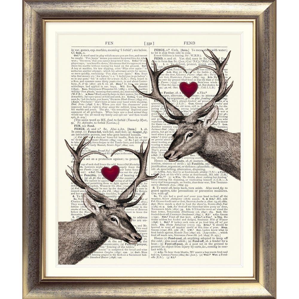 ART PRINT ORIGINAL ANTIQUE BOOK PAGE OLD Dictionary Vintage STAG HEARTS DEER