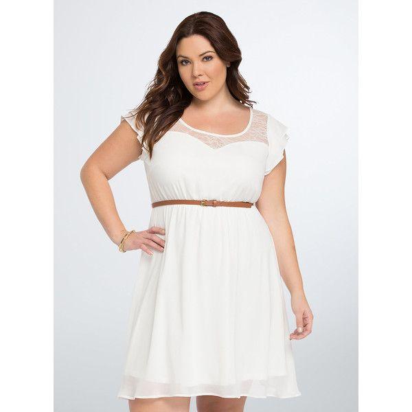 Ruffle Lace Inset Skater Dress Plus Size | Torrid
