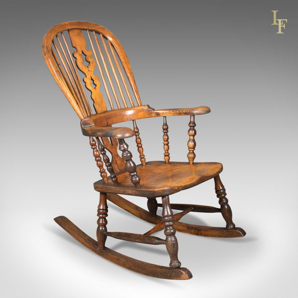 This is a Victorian, antique, Windsor rocking chair. An English armchair  from Yorkshire and dating to the mid century - Victorian Antique Windsor Rocking Chair, English Armchair, Yorkshire