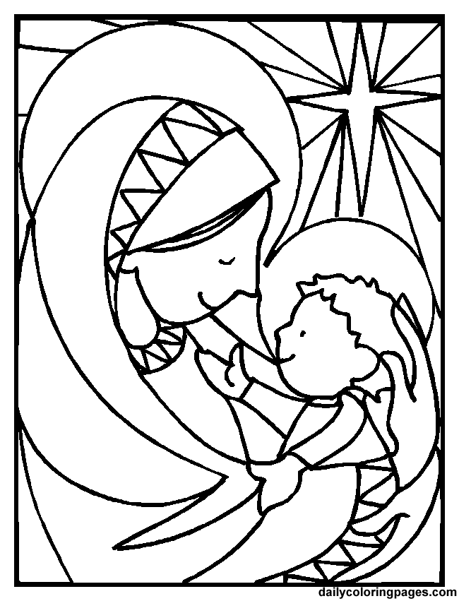 sweet coloring sheet for advent dailycoloringpage - Mary Baby Jesus Coloring Page