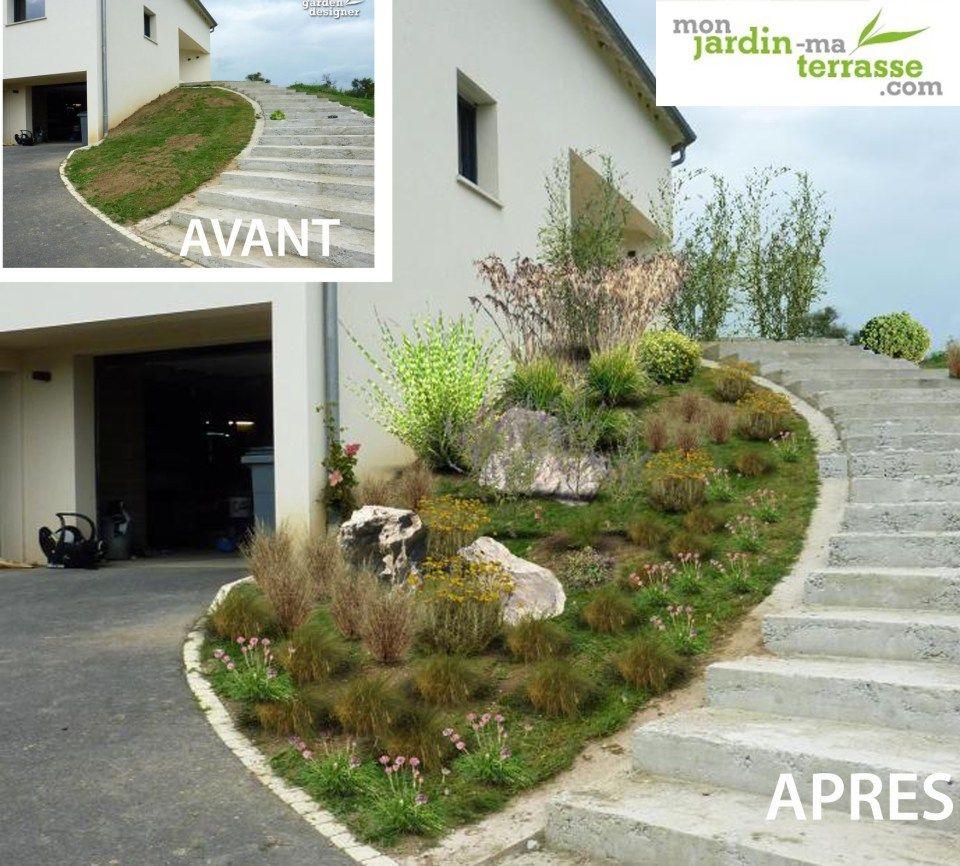 aménager entrée jardin pente | butte | pinterest | jardins, jardin
