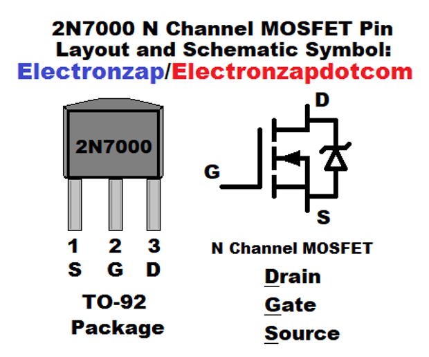 2n7000 N Channel Mosfet Pin Layout And Schematic Symbol Diagram By Electronzap Electronzapdotcom Electronzap On Patreon Symbols Layout Channel