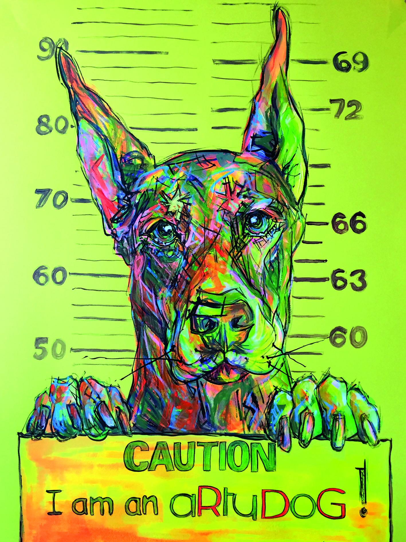 aRtyDoG Dobermann, acrylic on art coloured paper, 60x84cm | the ...