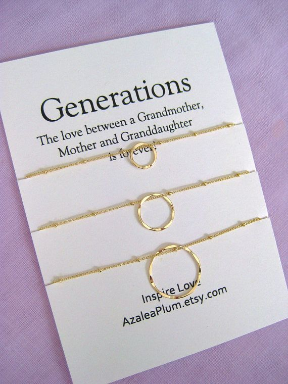 Grandmother Gift Generations Necklace GRANDMOTHER Mother Daughter 60th Birthday For Her