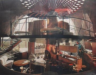 interior image of the 1955 Bavinger House by architect Bruce