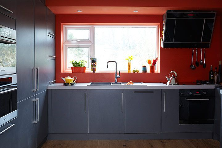 Homes   Bristol House: Kitchen With Grey Units And Orange Walls