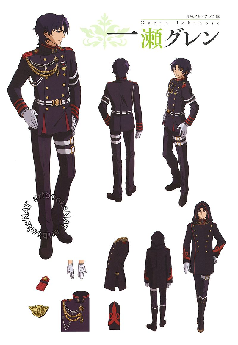 Character Design History : Seraph of the end 終わりのセラフ character designs and sketches