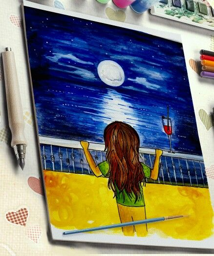 Day 5 - Night scences!! #beach #calmness #coolcolors  #myartwork #creative #artwork #illustration #draw #drawing #color #art #artist #painting #paint #artistsoninstagram #artistsofinstagram @deviantart #dailydeviation #deviantart