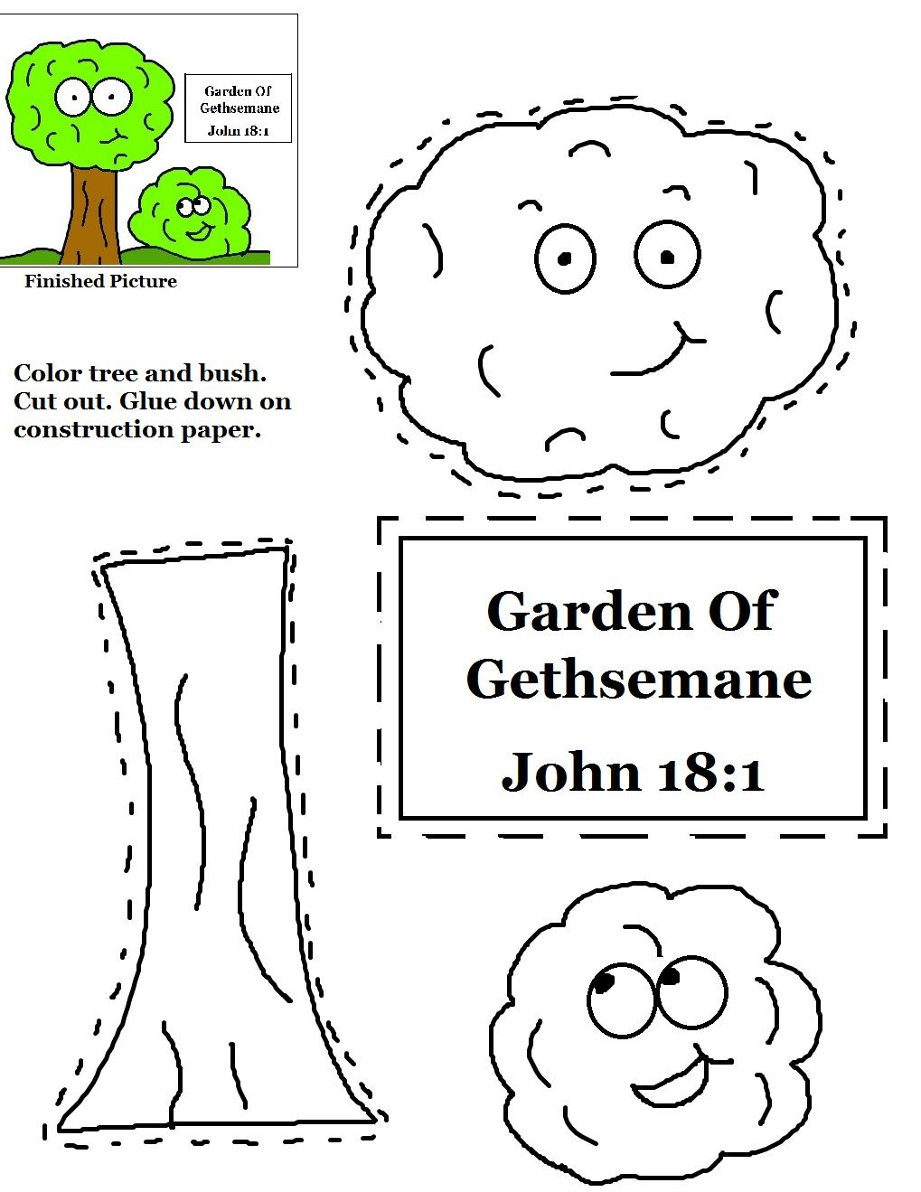 Garden pictures for kids to color - Garden Of Gethsemane Cutout Activity Sheet For Kids