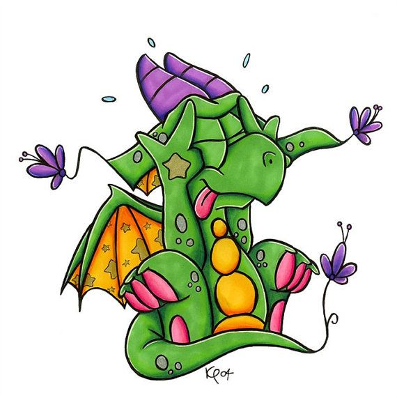 Cute Dragon Illustration Number 4 Original By Kazzycaboodles 20 00 Dibujos Pinturas Dragones