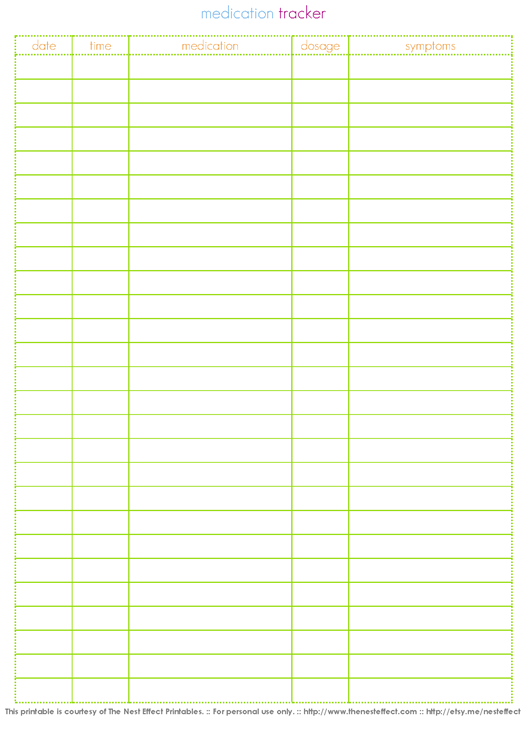 The Nest Effect: Free Printable: Medication Tracker | Organization ...
