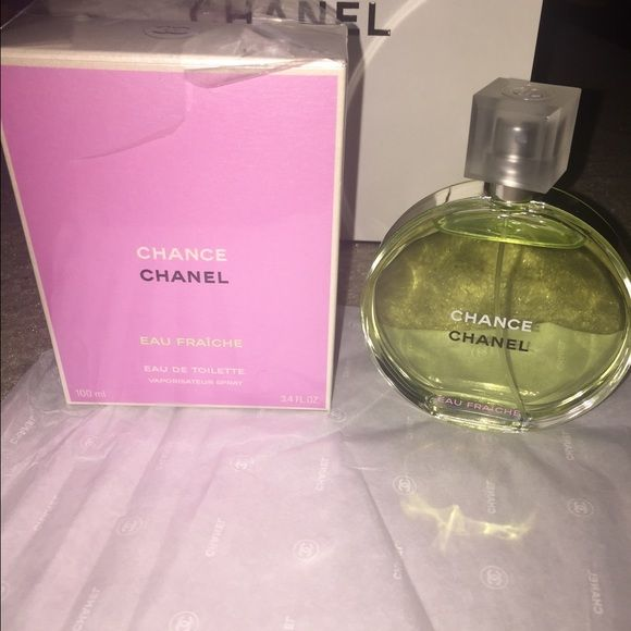 Authentic Chanel Chance Eau Fraiche perfume 3.4 ounce Eau de toilette comes with original box. ( BTW : this is authentic I don't know why it got taken down but I'd never sell it if it were fake ) used just a little spray one time will ship with care. Authenticity code in pic any questions please ask CHANEL Other