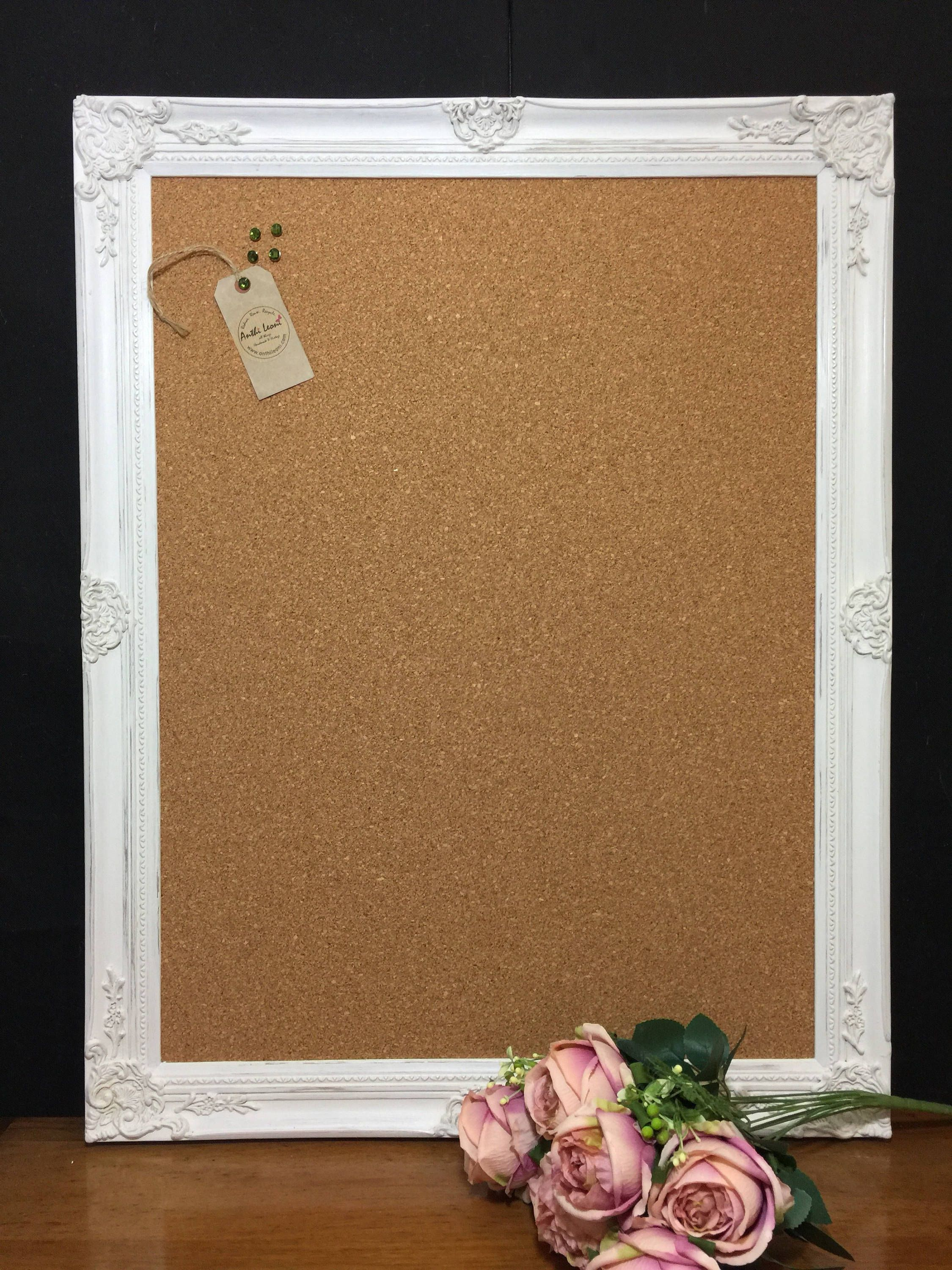 Shabby Chic Style Vision Board Extra Large Pin Ornate Corkboard Notice Framed Message Wedding Sign By