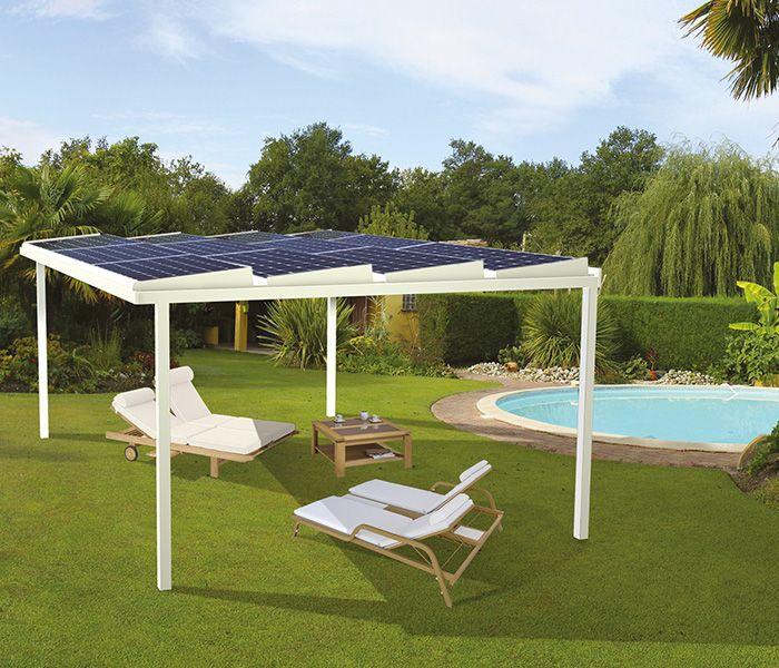 Ombrière photovoltaïque 18 m², panneau solaire en terrasse - EDF ENR - Refaire Electricite Maison Cout