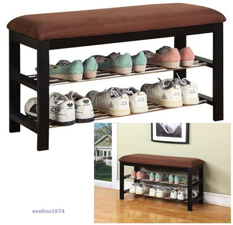 Wooden Shoe Cabinet Closet Storage Rack Seat Ottoman Entryway
