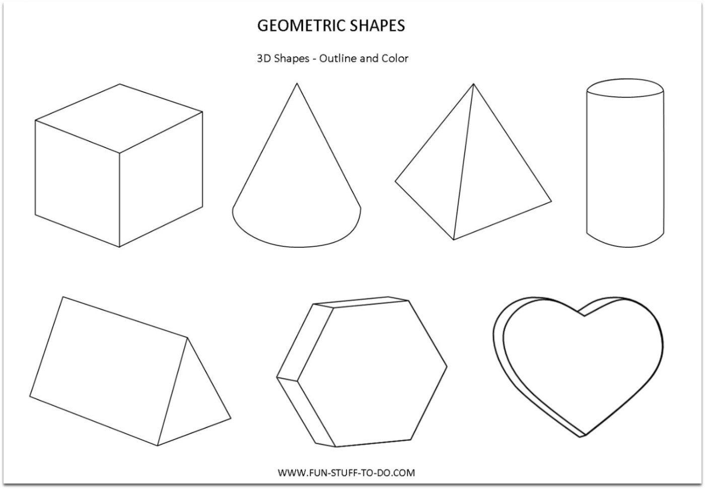 3 Dimensional Shape Worksheet Geometric Shapes Worksheets