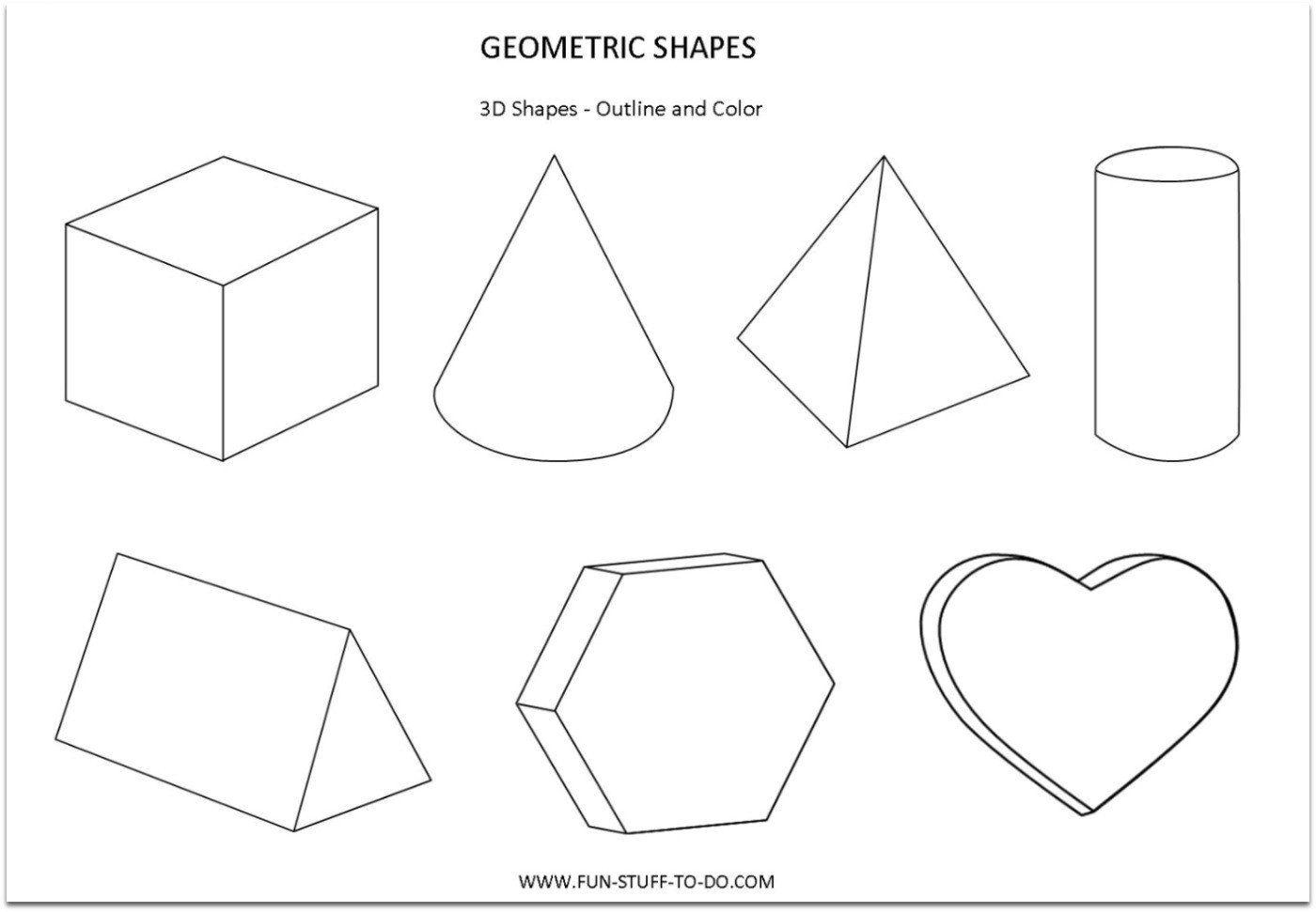 3 Dimensional Shape Worksheet Geometric Shapes Worksheets