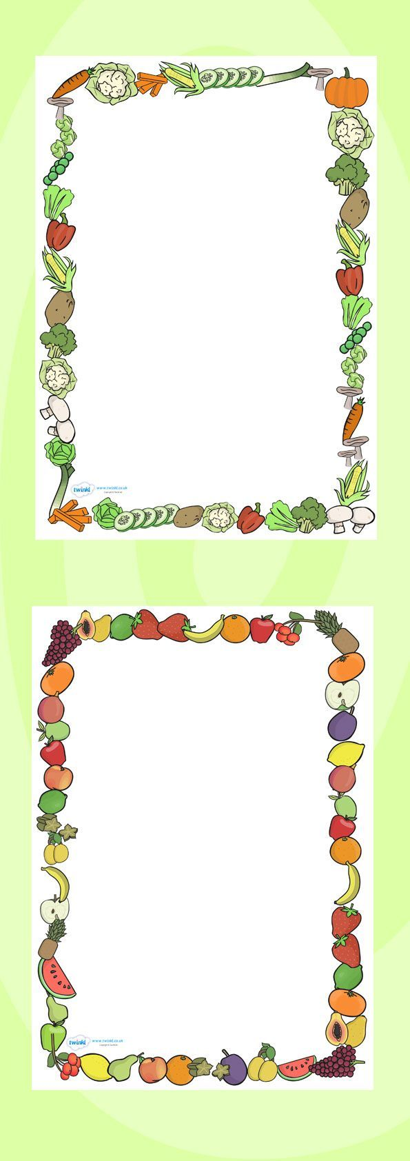 Twinkl Resources >> Fruit and Vegetables Themed A4 Page Borders ...