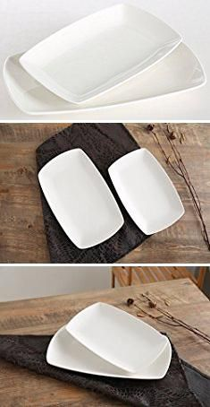 Oblong Dinner Plates. SOLECASA \ 10+12-inch\  Oblong Shape White Porcelain & Oblong Dinner Plates. SOLECASA \