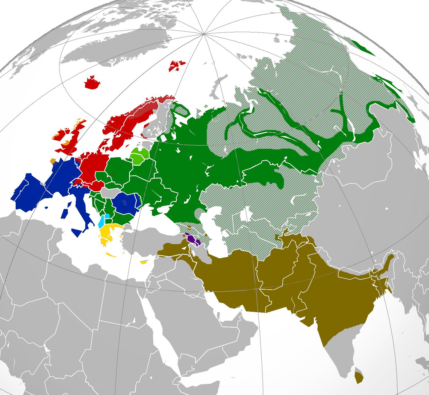Present-day distribution of Indo-European language families across Eurasia #map #languages
