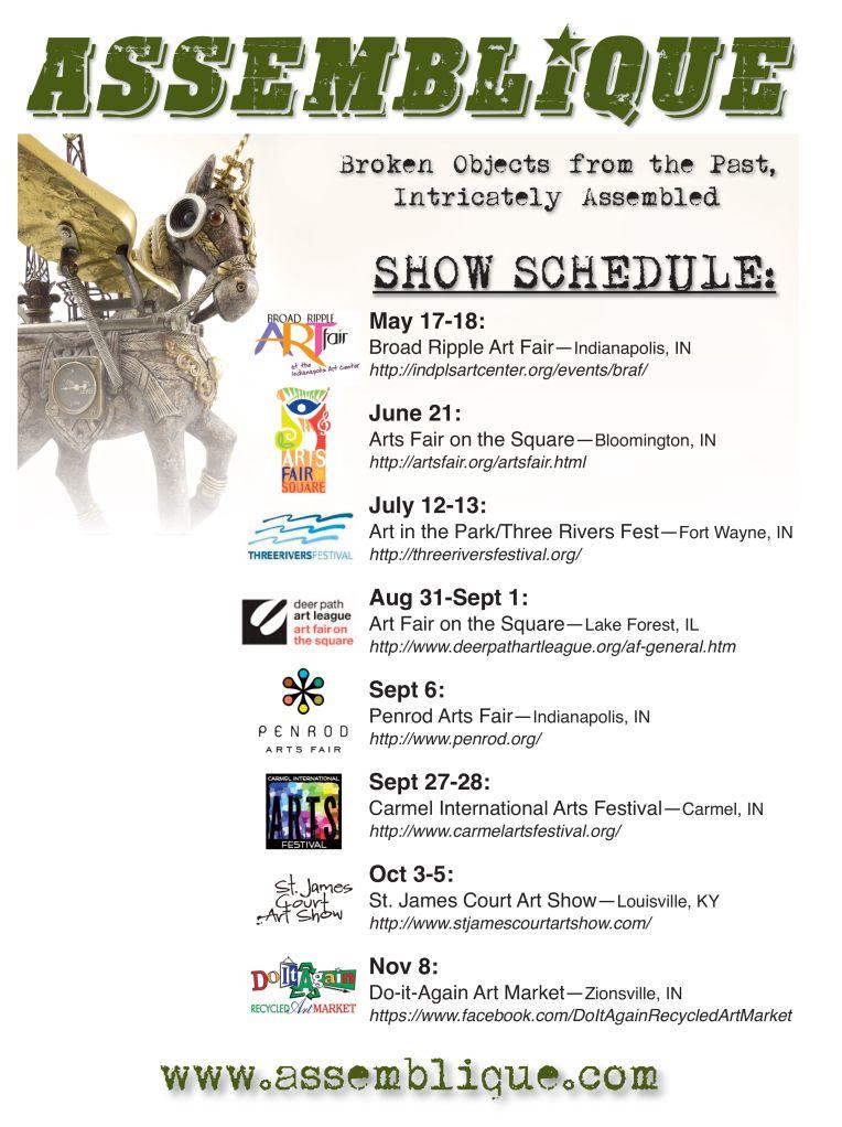 Assemblique show schedule art in the park art