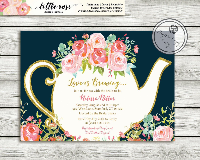 Love is Brewing Bridal Shower Invitation - Garden Tea Party - High ...