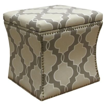 Accent Furniture Nailhead Storage Ottoman Luca Geometric Stone - Accent Furniture Nailhead Storage Ottoman Luca Geometric Stone