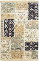Made in Belgium, these rugs showcase fresh designs and have a very unique silky feel.<br /><br />   - Field Color: Beige<br />   - Border Color: Cream, Dark Navy, Khaki, Teal<br />   - Knots Per Square Inch: 120