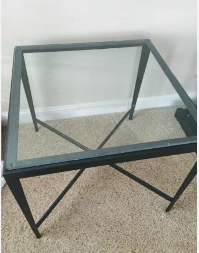 Ethan Allen End Table X 2 Metal Frame, Glass Top 27x27