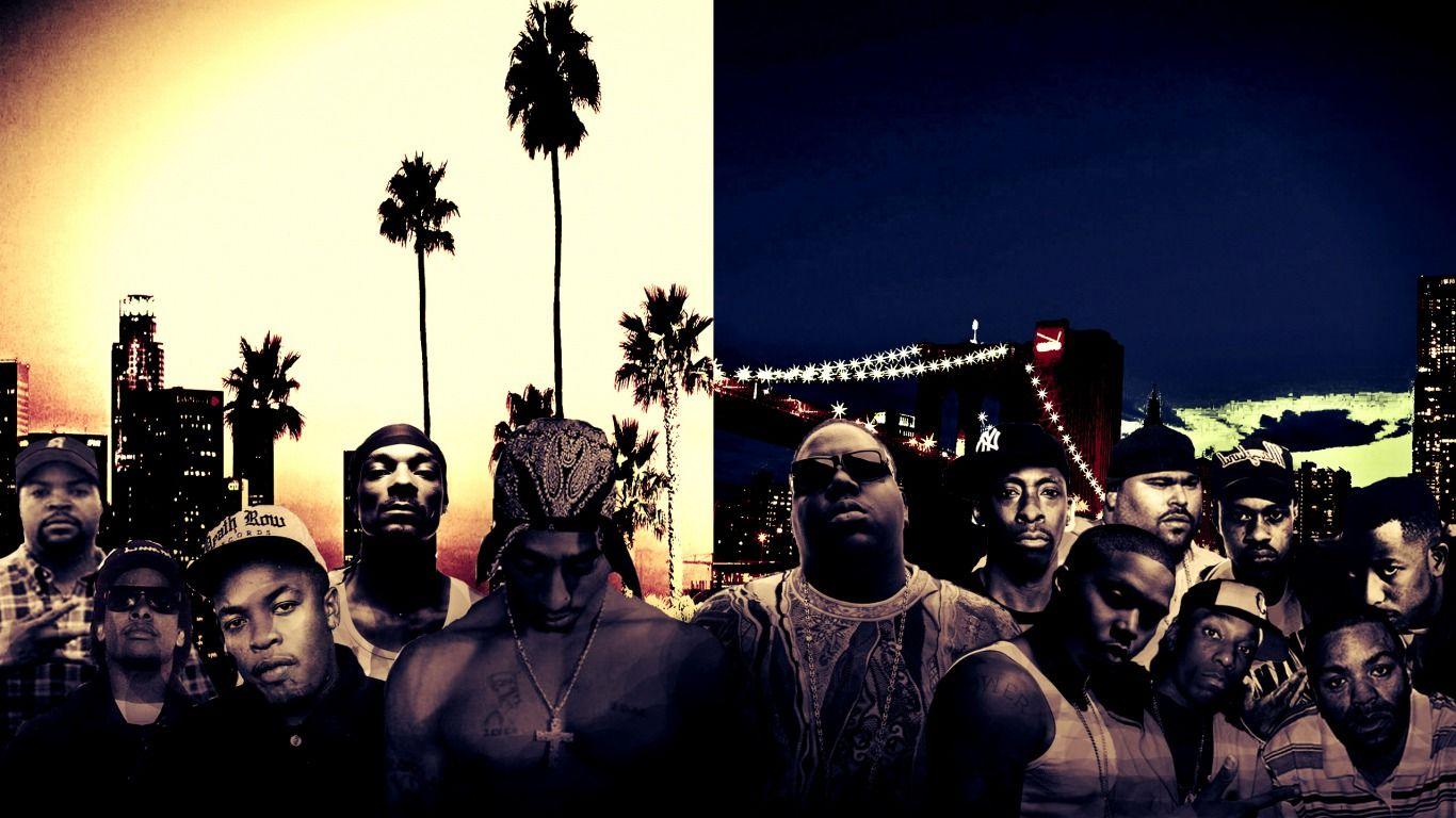 1366 x 768 West Coast & East Coast HipHop Wallpaper Rap
