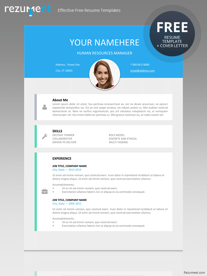 Free Modern Resume Template  Modern  Creative Resume Templates