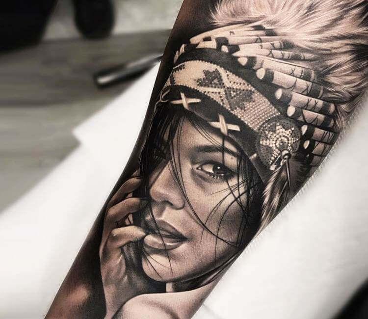 Native American Girl Tattoo By Bolo Art Tattoo Post 21176 Native American Girl Tattoo Native Tattoos Indian Girl Tattoos