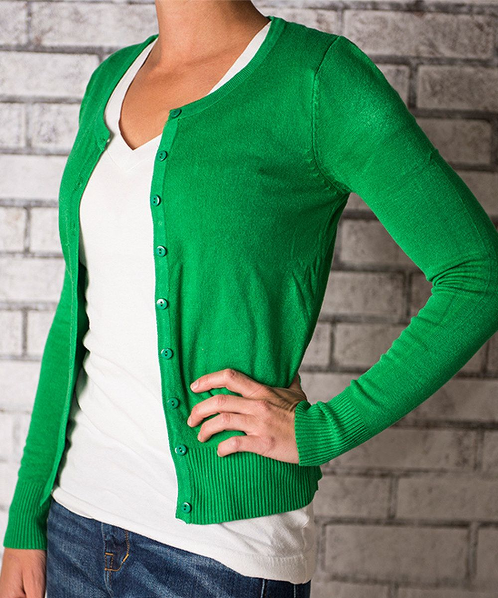 Look At This Cents Of Style Kelly Green Button Up Cardigan