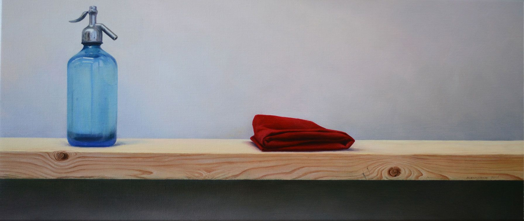 The Bottle and the Cloth 30 X 70 cm  oil on linen. Available