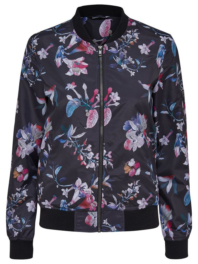PRINTED BOMBER JACKET, Black