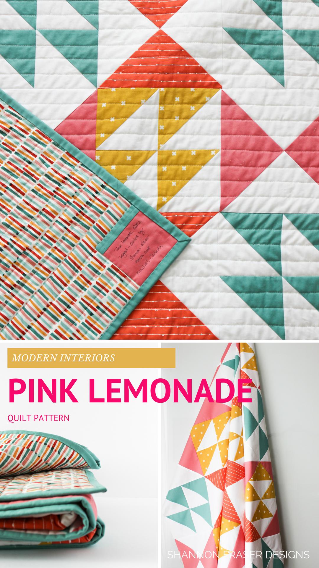 Pink Lemonade Modern Quilt Pattern Modern Quilt Patterns Quilt Patterns Beginner Quilt Patterns