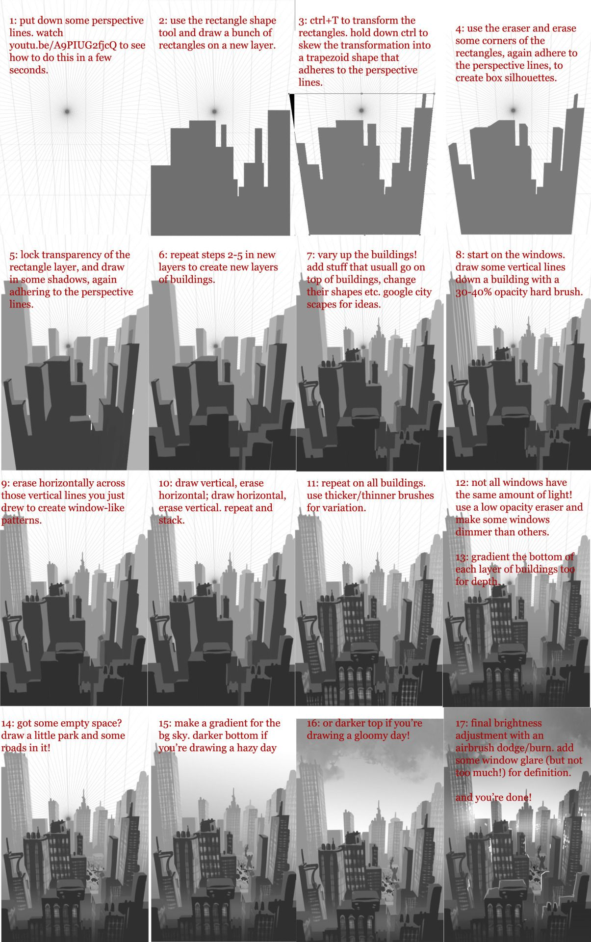 Okolnir How To Sketch Up A City Quickly Crossing Digital Painting Tutorials Concept Art Tutorial Cityscape Drawing