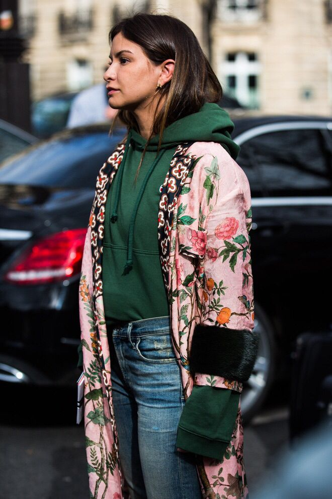 Love the idea of a hooded sweatshirt under silk kimono!