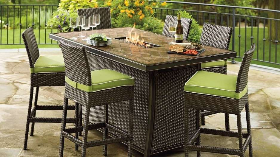 High Top Patio Tables Outdoor Dining Room Fire Pit Table Set