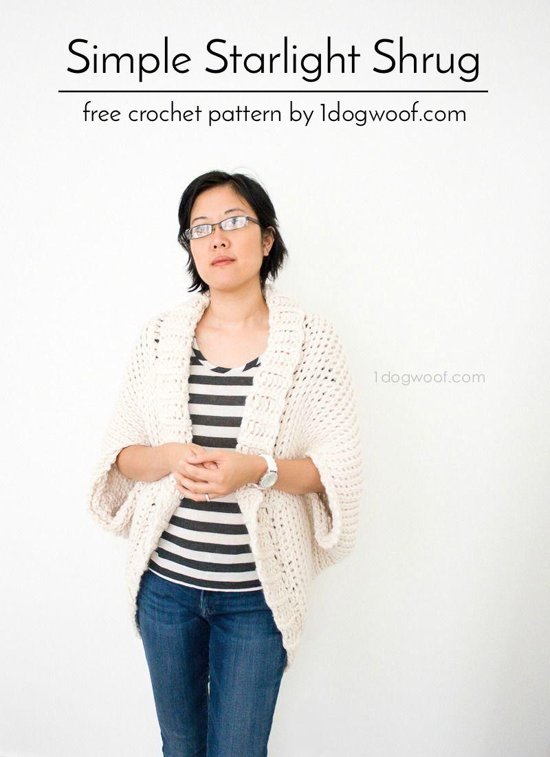 Simple Starlight Shrug Crochet Pattern | Ponchos, Puntadas de ...