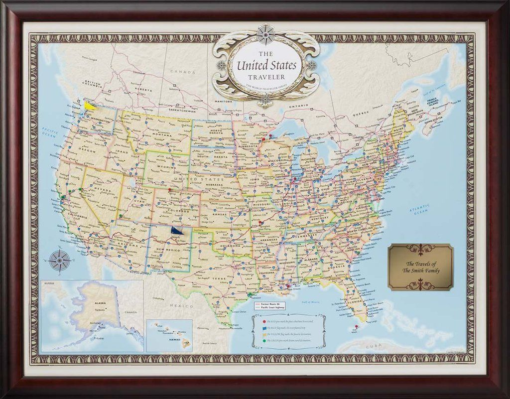 Personalized us traveler map destinations travel advice and personalized us traveler map framed mapsworld gumiabroncs Image collections