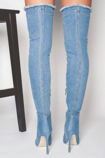 b0679a81da6 Mid Blue Maya OTK Denim Thigh High Boots