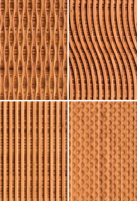 Wall Covering Materials : Patterned panels carved natural bamboo wall coverings