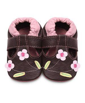 Look at this #zulilyfind! Shooshoos Brown & Pink Flowers T-Strap Booties by Shooshoos #zulilyfinds
