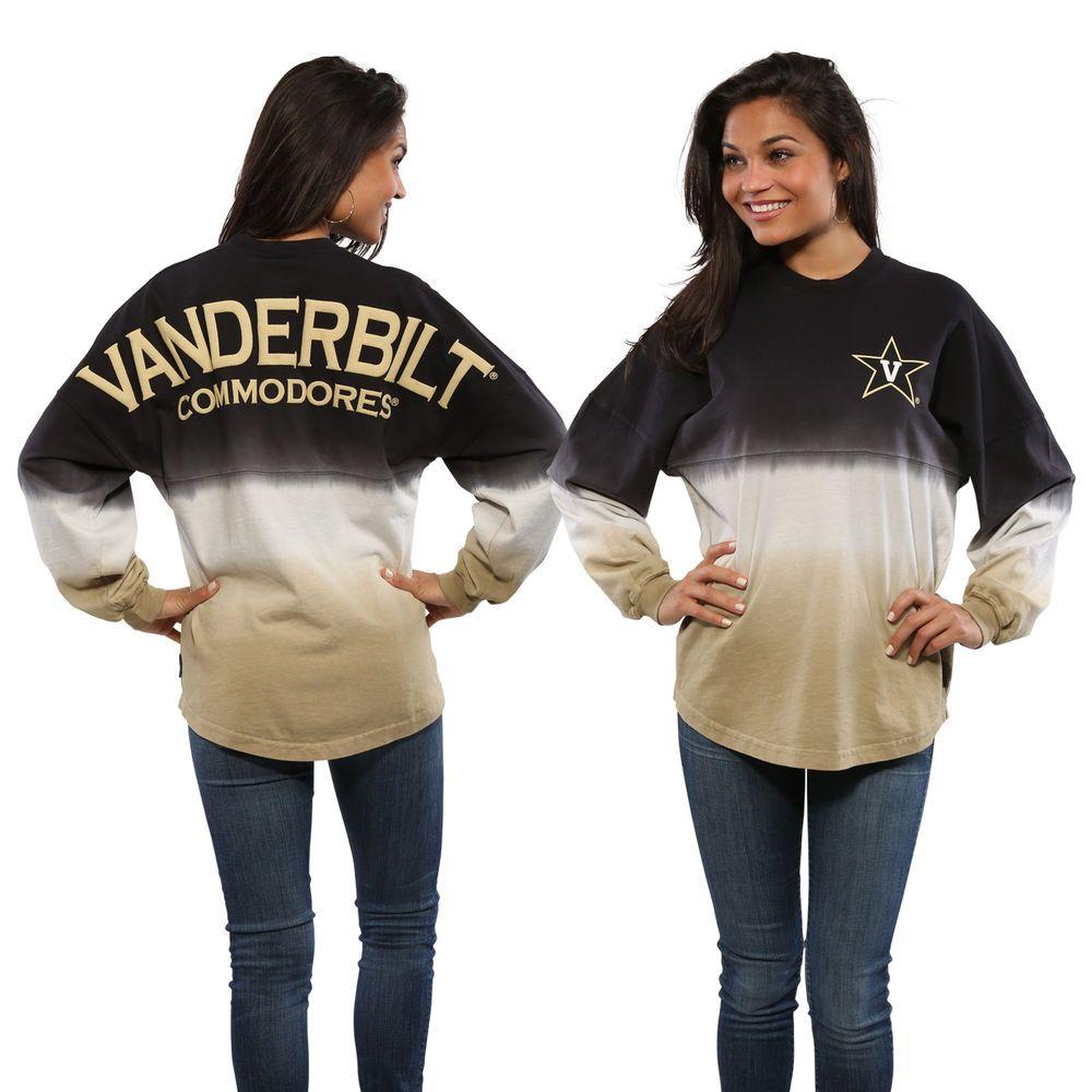 Vanderbilt Commodores Women's Ombre Long Sleeve Dip-Dyed Spirit Jersey - Black